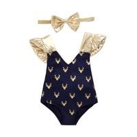 Envío Libre al por menor 2017 Nuevos Niños del Desgaste de los Bebés del Otoño de Navidad de Oro V cuello sling Deer impreso algodón Mameluco