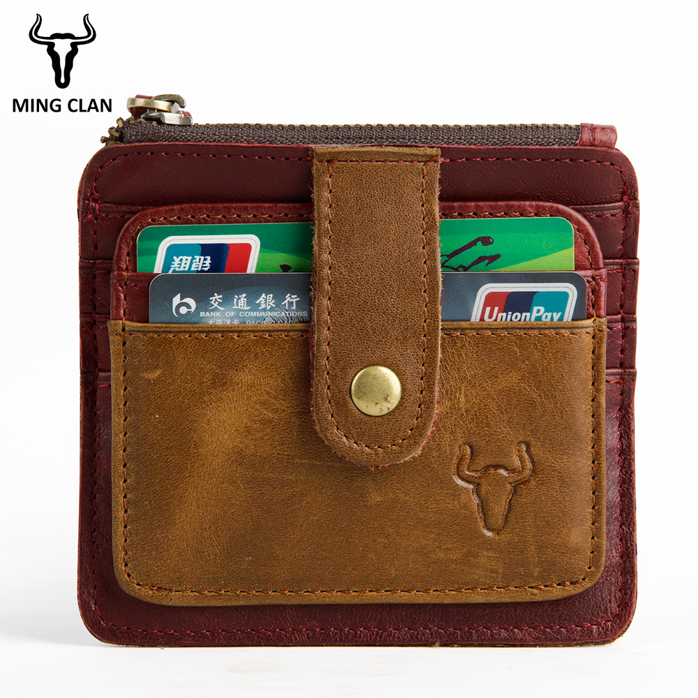 цена на MingClan Mini Wallet Coin Card Bag Genuine Leather Purse Designer Clutch Slim Thin Money Bag Coin Pocket Red Gifts For Men Women