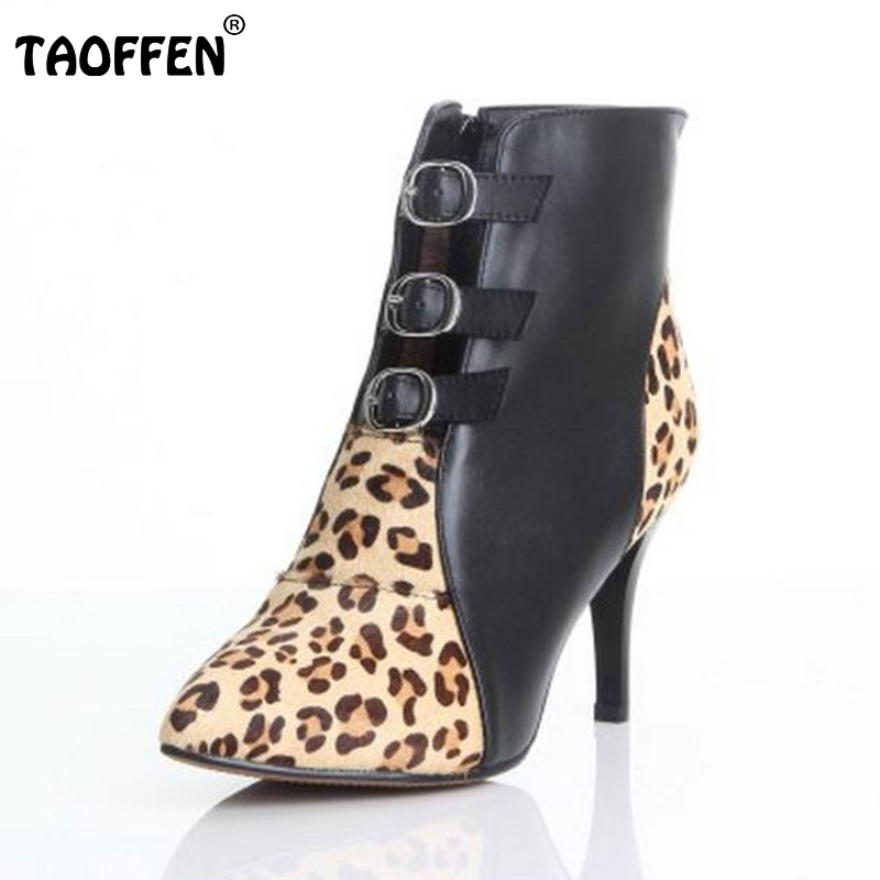 Women Ankle Boots Natural Real Leather Luxury Pointed Toe Sexy High Heels Wild Leopard Zip Fashion Boots Women Shoes Size 34-39
