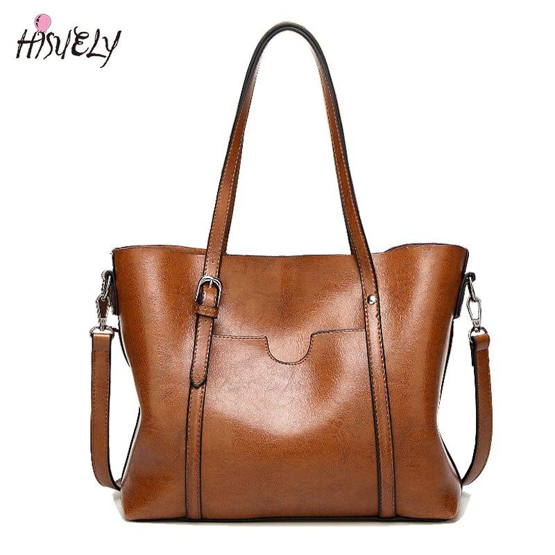 Large Capacity Tote Bag Fashion Women Handbag PU Oil Wax Leather Women Bag Big Ladies Shoulder Bags Bolsas Feminina Bucket Bag zipower pm 5154