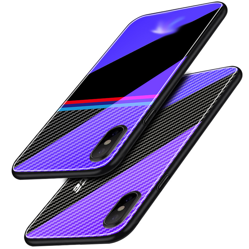 Car logo Blu ray tempered glass explosion proof mobile phone case for iPhoneXS MAX XS 6 7 8 plus XR anti drop mobile phone bag in Fitted Cases from Cellphones Telecommunications