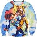 2016 New Arrival Fashion Brand Harajuku Men Sweatshirts 3D Print Anime Dragon Ball Super Saiyan Pullover Hip Hop O-neck Hoodies