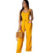 Yellow Summer Jumpsuits for Women Rompers Sexy Sleeveless Backless Button Casual Wide Leg Pants Loose Overalls Pockets Sashes button fly pockets wide pants
