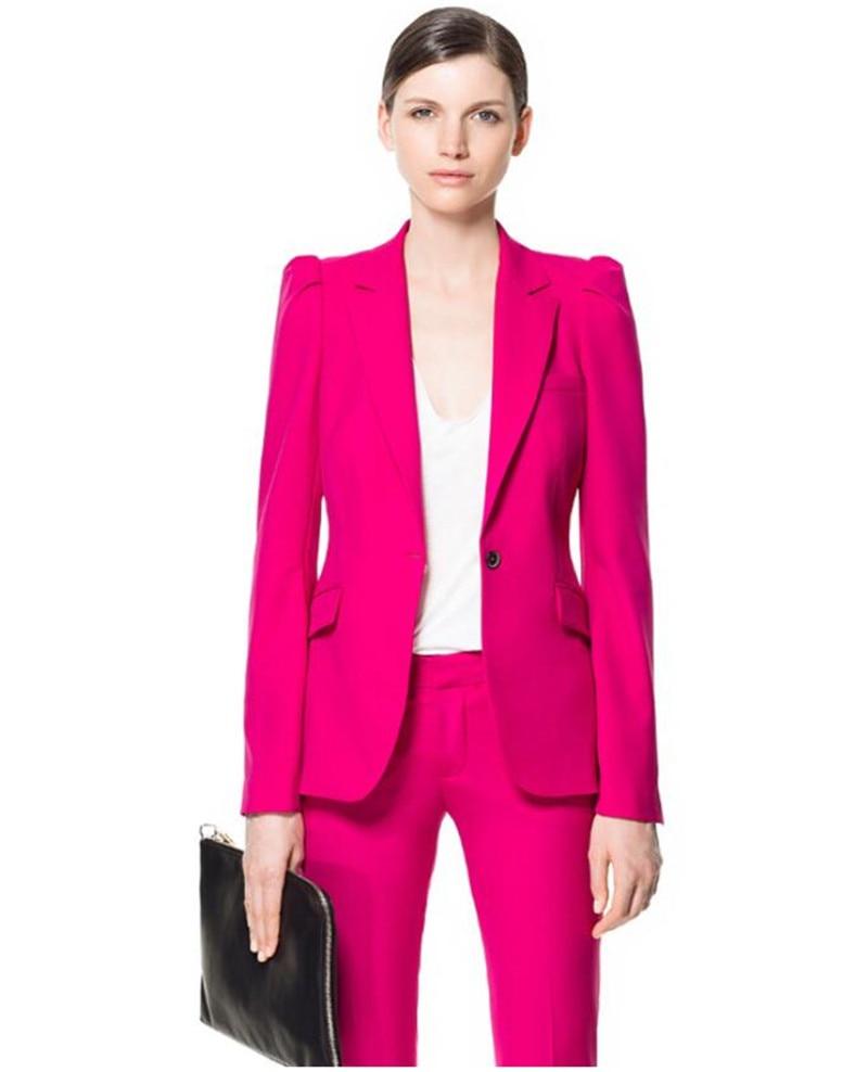 Nouveau Fuchsia femmes costume d'affaires pantalon costumes femmes d'été affaires costumes femme travail formel porter 2 pièces femme pantalon costumes
