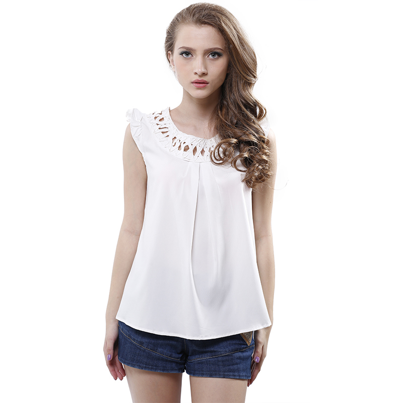 Summer OL Ladies hollow Out Blouse O-neck Sleeveless Solid Round Neck Women Chiffon Blouse Tops 2015 New Design