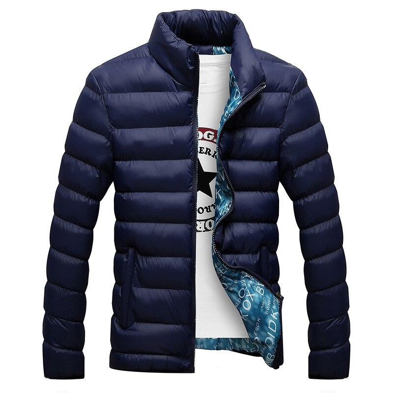 Chaqueta de invierno para hombre 2018 chaqueta Parka de moda con cuello alto para hombre chaquetas gruesas sólidas para hombre y Parkas de invierno