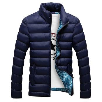 Kurtka zimowa mężczyźni 2020 modna stójka męska kurtka typu parka męskie solidne grube kurtki i płaszcze męskie zimowe parki M-6XL tanie i dobre opinie HANQIU COTTON Bawełna poliester REGULAR STANDARD Men Down jacket Suknem zipper NONE Poliester bawełna Szeroki zwężone