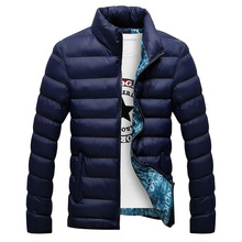 Winter Jacket Men 2018 Fashion Stand Collar Male Parka Jacket Mens Solid Thick Jackets and Coats Man Winter Parkas M-6XL cheap Regular Wide-waisted Cotton Polyester Cotton Men Down jacket Standard Cotton Polyester Cotton Broadcloth 0 6KG Zippers Pockets