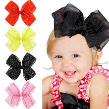 1PC Cute Hats Baby Girls Bows Lace Bead Hair Clips Ribbon HairBands Big-Grain Bows Children Hair Pins Hair Kids Pins Accessories