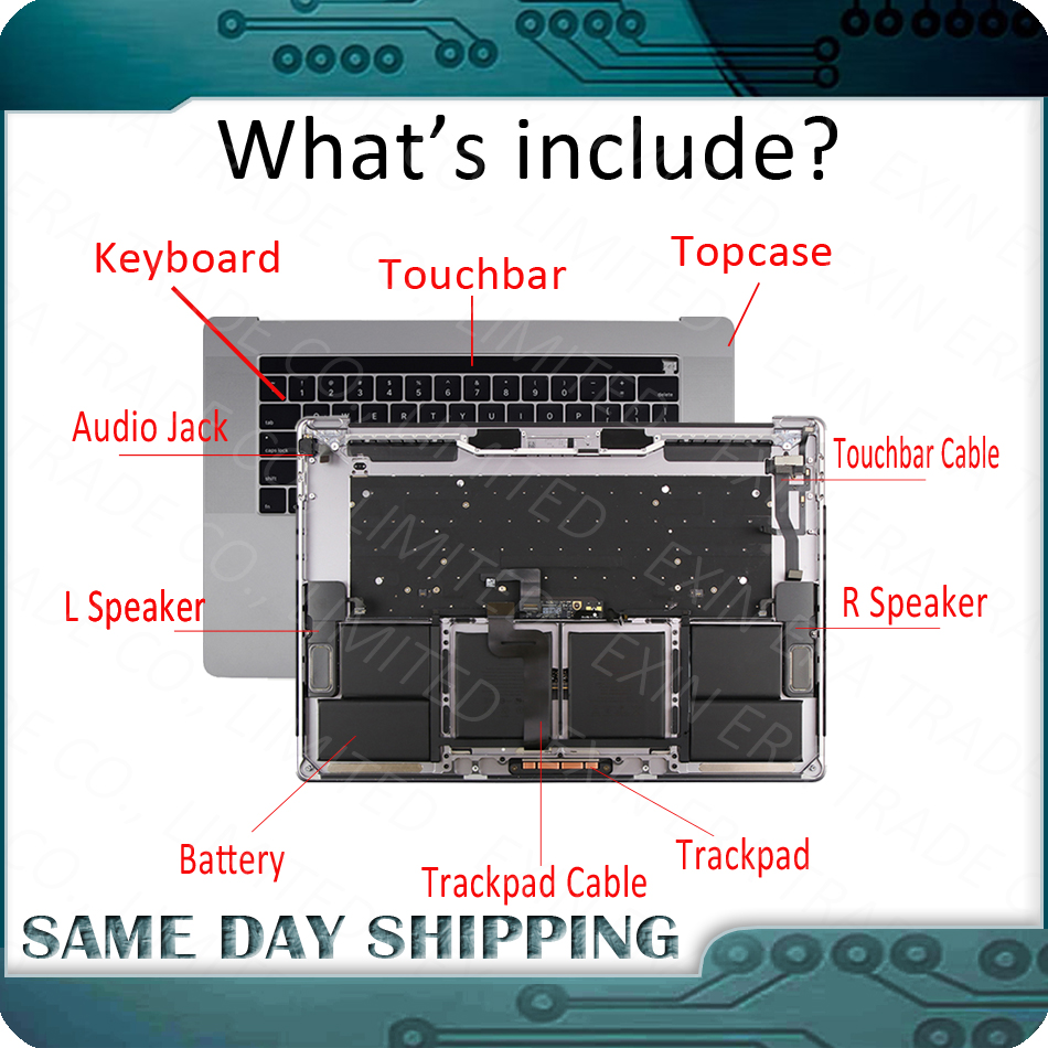 661 06378 Silver Grey for Macbook Pro 15 A1707 Topcase w Keyboard US English Trackpad Touch