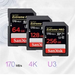 Image 5 - מקורי חדש SanDisk Extreme PRO SD כרטיס 64GB 128GB 256GB 170 MB/s Carte SD SDXC Class10 C10 u3 V30 4K UHD עבור מצלמה SD כרטיס