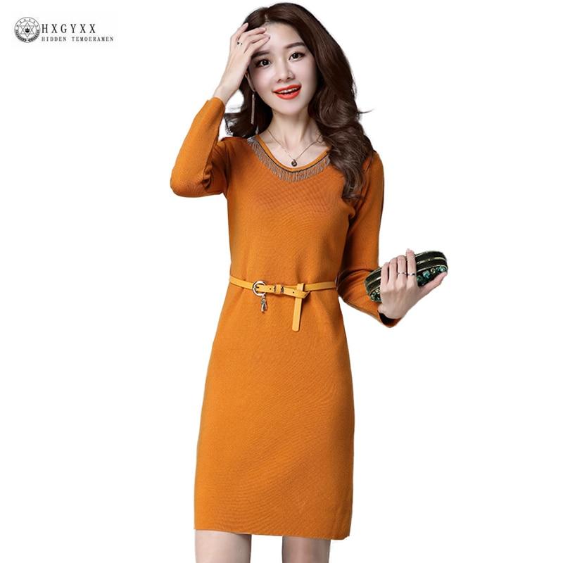 2018 New Spring Autumn Straight Knitted Sweater Dress Women V-neck Medium-Long Pullover Dresses Female Elastic Knitwear W1601