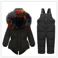 Baby Girls Snow Suit Winter Down Clothes Set Multicolor Fur Jacket Children's Clothing Ski Suit for Girls Clothes 3 2 1 Years