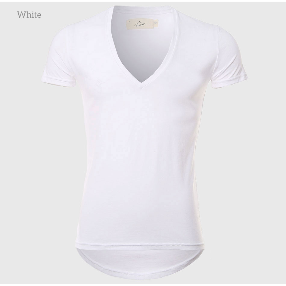 21 Colors Deep V Neck T-Shirt Men Fashion Compression Short Sleeve T Shirt Male Muscle Fitness Tight Summer Top Tees 7