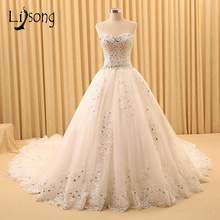 Beaded Luxury Ivory Strapless Wedding Dresses Long Chapel Train Bridal Formal Dress vestido de noiva Handmade Wedding Dress Gown