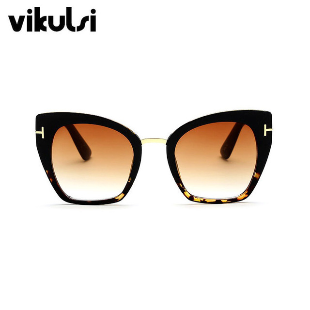 2017 New Fashion Brand Designer Cat Eye Sunglasses Women Tom Sun Glasses Big Size Cateye Vintage Oversize Female Gradient Points 2