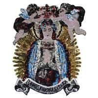 Large Sequin Fairy Virgin Mary Baby Angel Wings Patches Embroidery Applique Brand Fashion Show Back Patches Jacket
