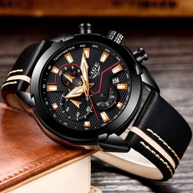 LIGE Men's Fashion Design Leather Date Chronograph Quartz Watches 3