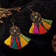 Orecchini pendenti colorati con nappe pendenti per donna Boho femminile bohemien etnico orecchini per feste di nozze accessori per gioielli
