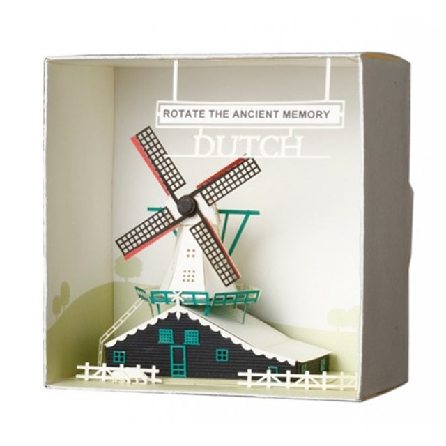 Taiwan 3d Laser Origami Paper Sculpture Model Greeting Material Package Birthday Cards Dutch Windmill