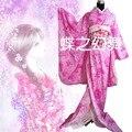Японские Женщины Роза Красная Розовый Цветочные Длинные Furisode Кимоно Косплей Костюм