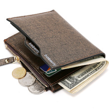 Fashion 2018 Men Wallet with Coin Bag Zipper Small Money Purses Mini Wallet New Design Dollar Slim Purse Money Clip Man Wallet