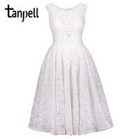 Tanpell koronki homecoming suknie biały wycięciem bez rękawów kolano długość linii suknia powrót bowknot cocktail krótki homecoming suknia