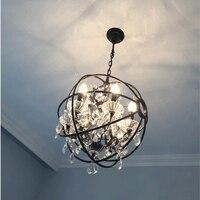 Nordic Industry Retro Pendant Crystal Iron Ball Shape Lamp E14 Vintage Loft American Country Art Lamp