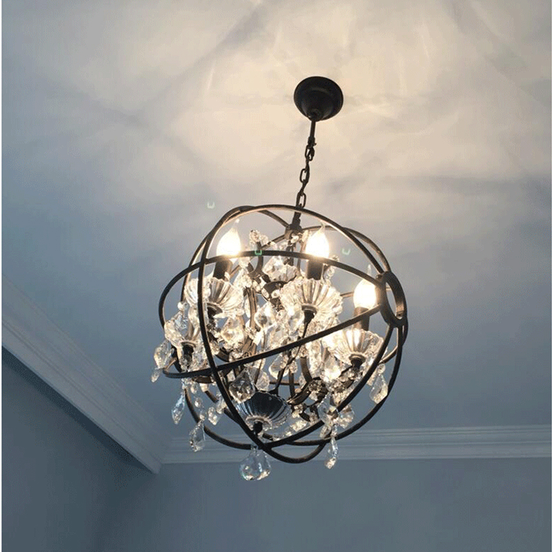 Nordic Industry Retro Pendant Crystal Iron ball Shape Lamp E14 Vintage Loft American Country Art Lamp Hanging Light Living Room