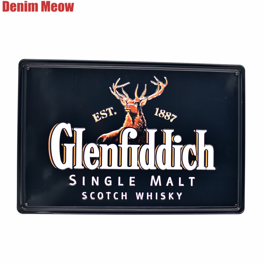 Famous Whisky Vintage Embossed Metal Tin Signs Casino Bar Pub Decorative Plates Wall Stickers Black BEER Plaque Art Poster SS4 in Plaques Signs from Home Garden
