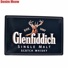 Famous Whisky Vintage Embossed Metal Tin Signs Casino Bar Pub Decorative Plates Wall Stickers Black BEER Plaque Art Poster SS4