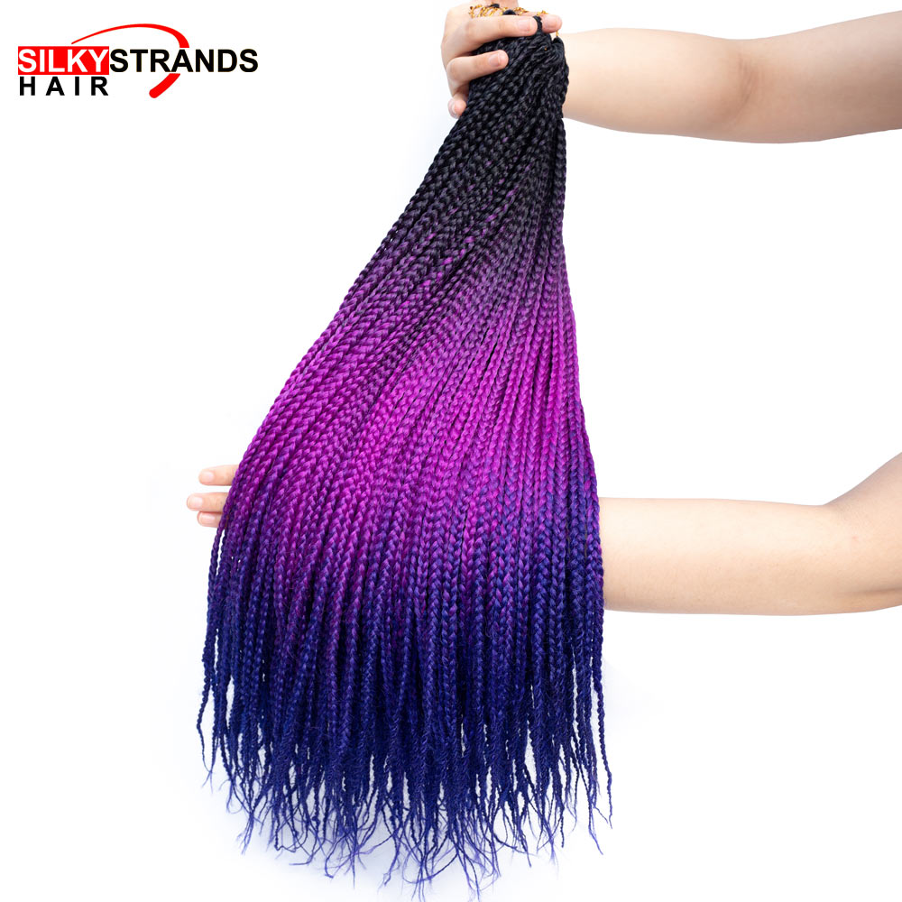 Box Braid Crotchet Braids Hair Extensions 24 Inch Synthetic Ombre Braiding Hair Colors Black Grey Purple Blue Pink Zizi Braids