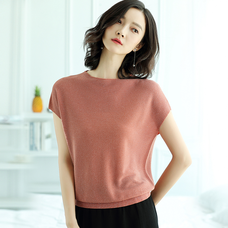 Summer Women Tops Short Sleeve Knitted Pullover 2019 New Loose T Shirt Mesh Breathable  Bat Sleeve Solid Elasticity Female Tops
