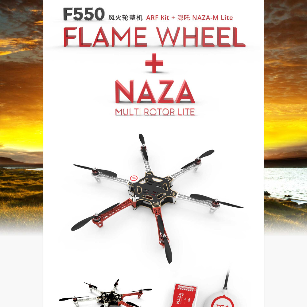 Original F550 Hexacopter/Quadcopter with ESC Motor Propeller & NAZA Lite GPS ARF MultiCopter Kit Combo original dji e600 3508 motor 20a esc 1242 propeller power combo kits for dji f450 f550 hexacopter drone high efficiency