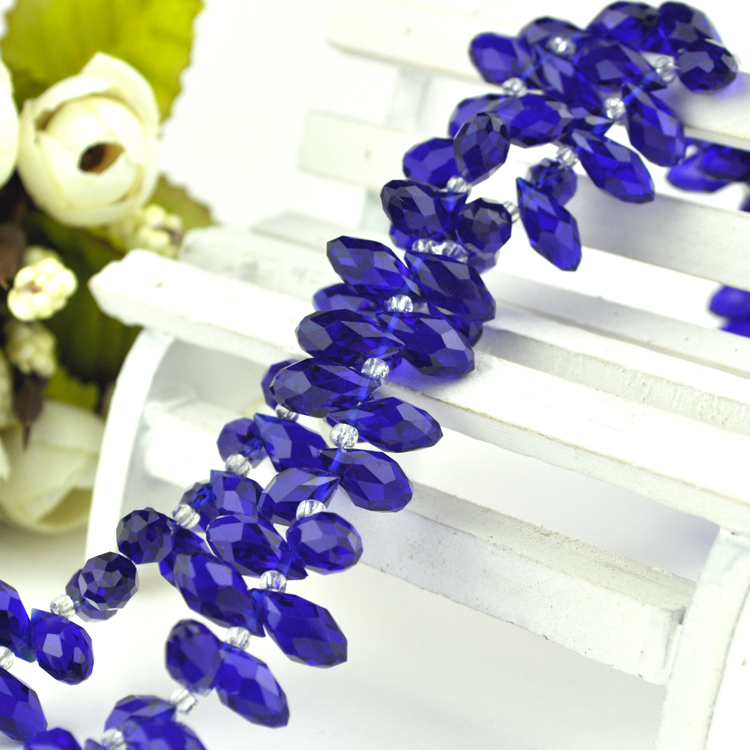 웃 유Fit lujo cortinas luz araña joyería oscuro azul real cristal