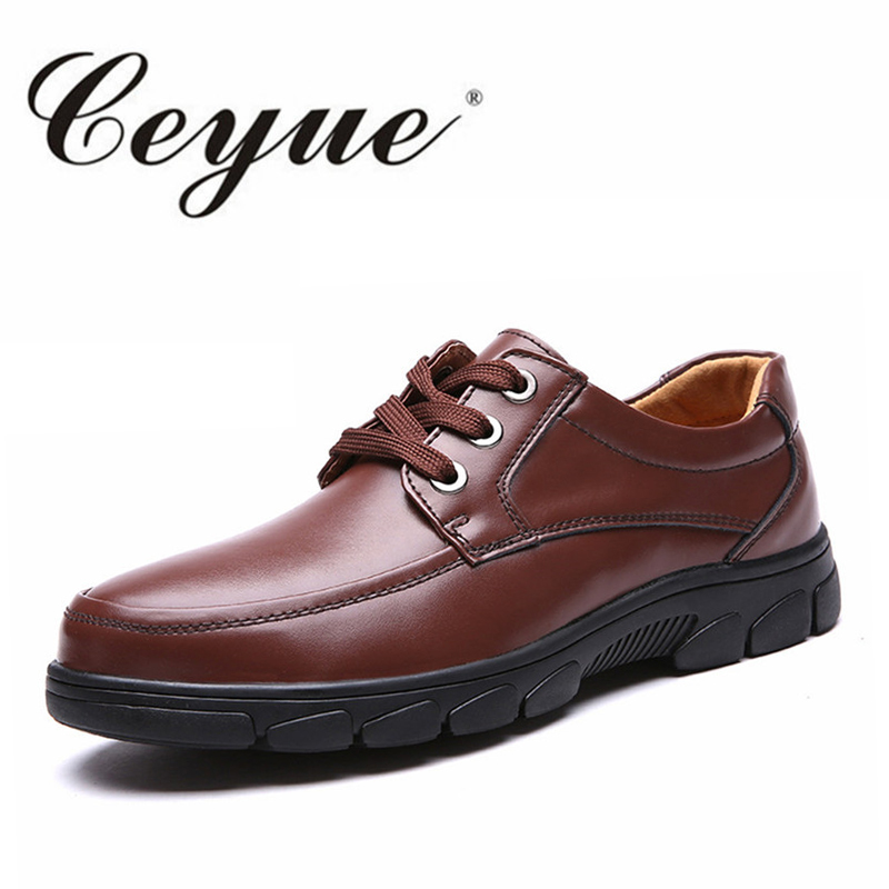 Ceyue Genuine Leather Men Casual Shoes 2017 Autumn Winter Business Walking Shoes Quality Brand Lace Up Flats Moccasins Shoes Men cbjsho brand men shoes 2017 new genuine leather moccasins comfortable men loafers luxury men s flats men casual shoes