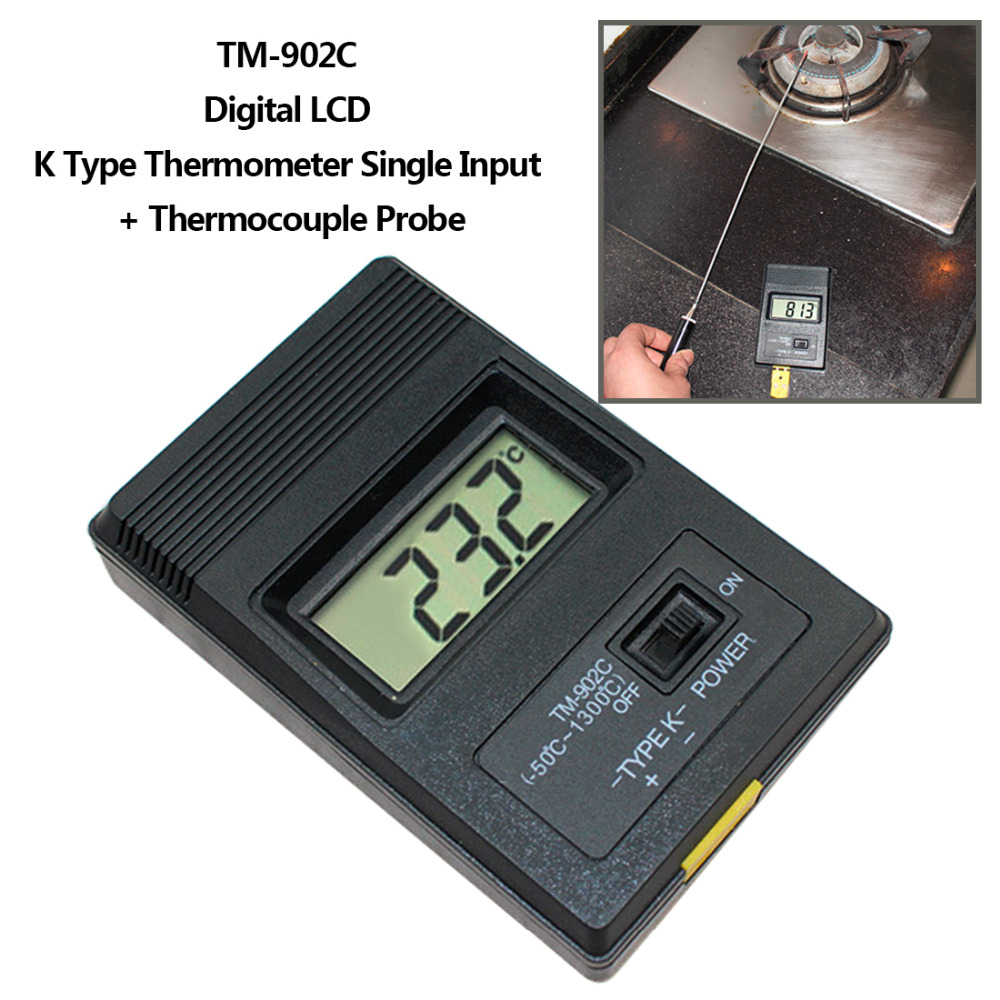Digital LCD K Type Thermometer Temperature Single Input Pro Thermocouple Probe Detector Sensor Reader Meter TM 902C k j type single channel thermometer temperature meter tester gauge tm 80n