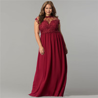 Plus Size 5XL Summer Dress Women New Floor Length Maxi Long Dress Mesh Lace Stitching Red Sexy Dress Party Dresses Jurken C4166