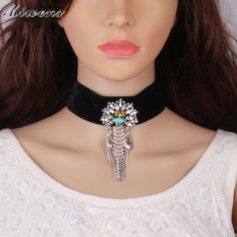 Miwens Brand new 2017 Women silver crystal necklace with cloth Maxi choker statement Necklaces& Pendants Vintage Jewelry 8025