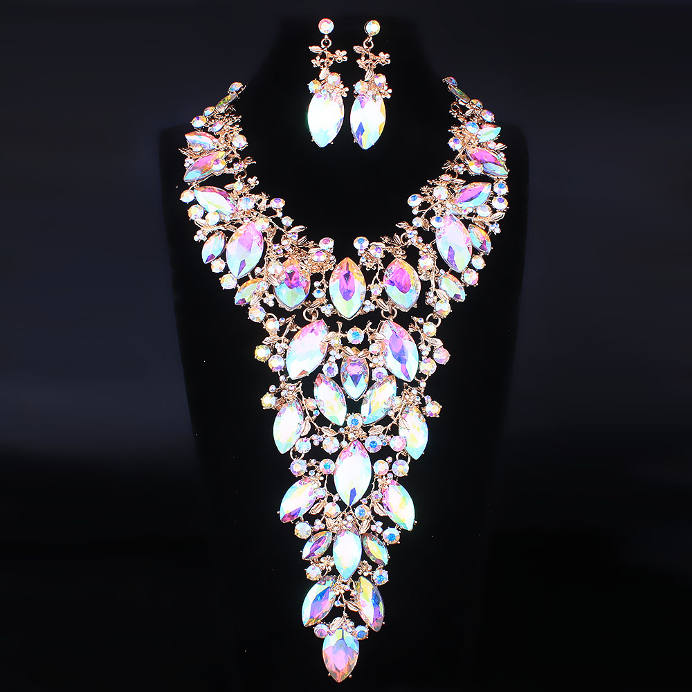 FARLENA Luxury Exaggerated Crystal Leaf Full Rhinestone Necklace Earrings Set for Bridal Wedding African Beads Jewelry sets