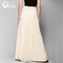 white cotton long lace skirt Summer Beach Wedding Skirt Retro Wedding Look Pleated Tulle Skirts Female