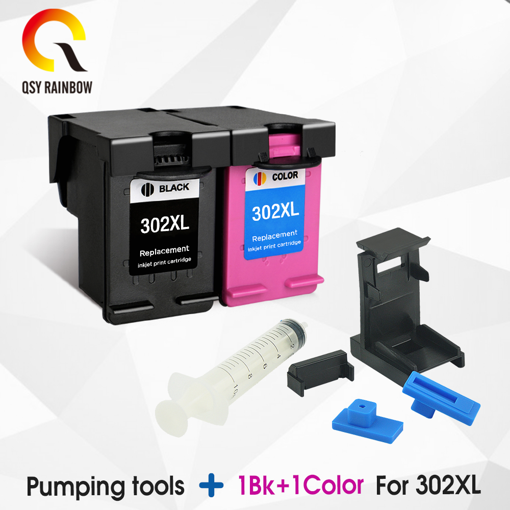 QSYRAINBOW 302XL Cartridge Replacement for <font><b>HP</b></font> 302 HP302 XL <font><b>Ink</b></font> Cartridge for <font><b>Deskjet</b></font> 1110 1111 1112 <font><b>2130</b></font> 2131 <font><b>printer</b></font> image