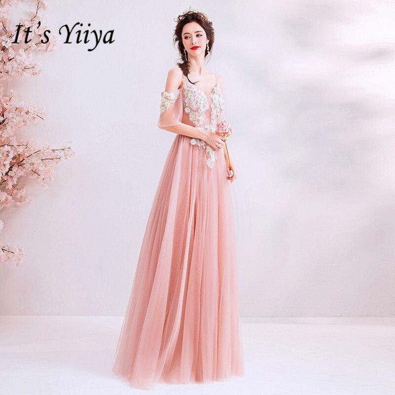 C'est YiiYa rose robe de soirée une ligne à manches courtes broderie longues robes de bal Illusion perles Floral v-cou robes de soirée E179