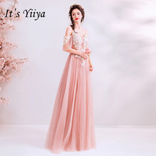 Its YiiYa Pink Evening Dress A line Short sleeve Embroidery Long Prom Dresses Illusion Beading Floral V-neck Party Gowns E179