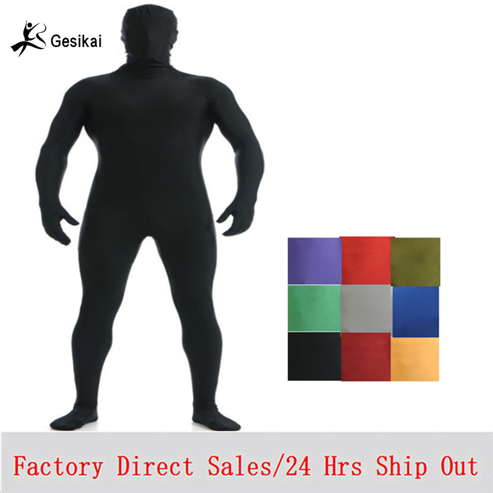 Gesikai Mäns Spandex Zentai Lycra Full Body Mäns Zentai Suit Custom Second Skin Tights Suit Halloween Kostym