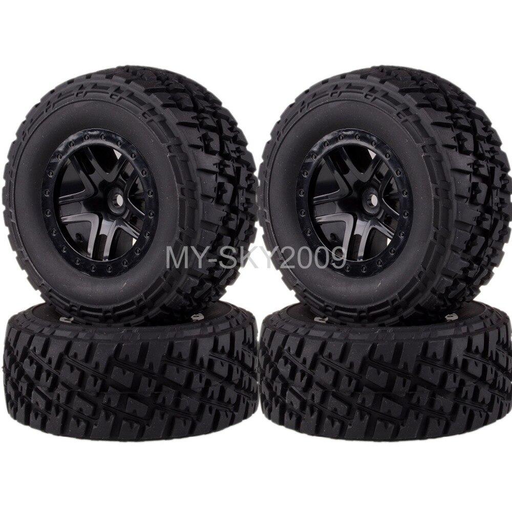 4pcs Front & Rear Wheel Rim & Tire For 1/10th RC Traxxas Short Course Truck Slash 4x4 1 10 scale rc short course truck tire