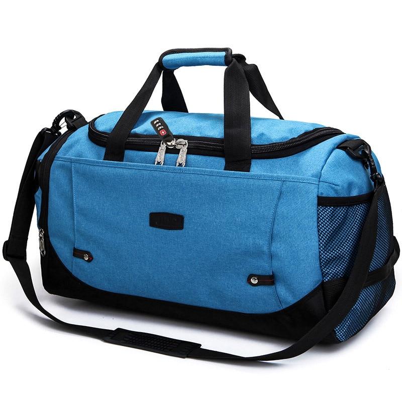 MARKROYAL Многофункциональный Водонепроницаемый Для мужчин Дорожная сумка с защитой от краж дорожная сумка для путешествий большой Ёмкость Сумки из натуральной кожи для уик-энда в одночасье - Цвет: Blue