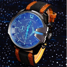 2016 New Fashion Casual gift Hot sale Cool Men's boys' Analog Sport Steel Case Quartz Dial Synthetic Leather Wrist Watch 20d00