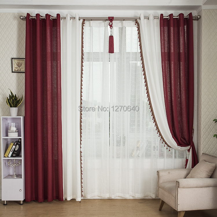 Wholesale simple curtain solid linen patchwork burgundy curtain ...
