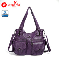 Angelkiss Fashion Skin friendly Casual Washed PU Leather Tote Daily Bags Multi Pockets Purses Shoulder Women Handbags for Ladies
